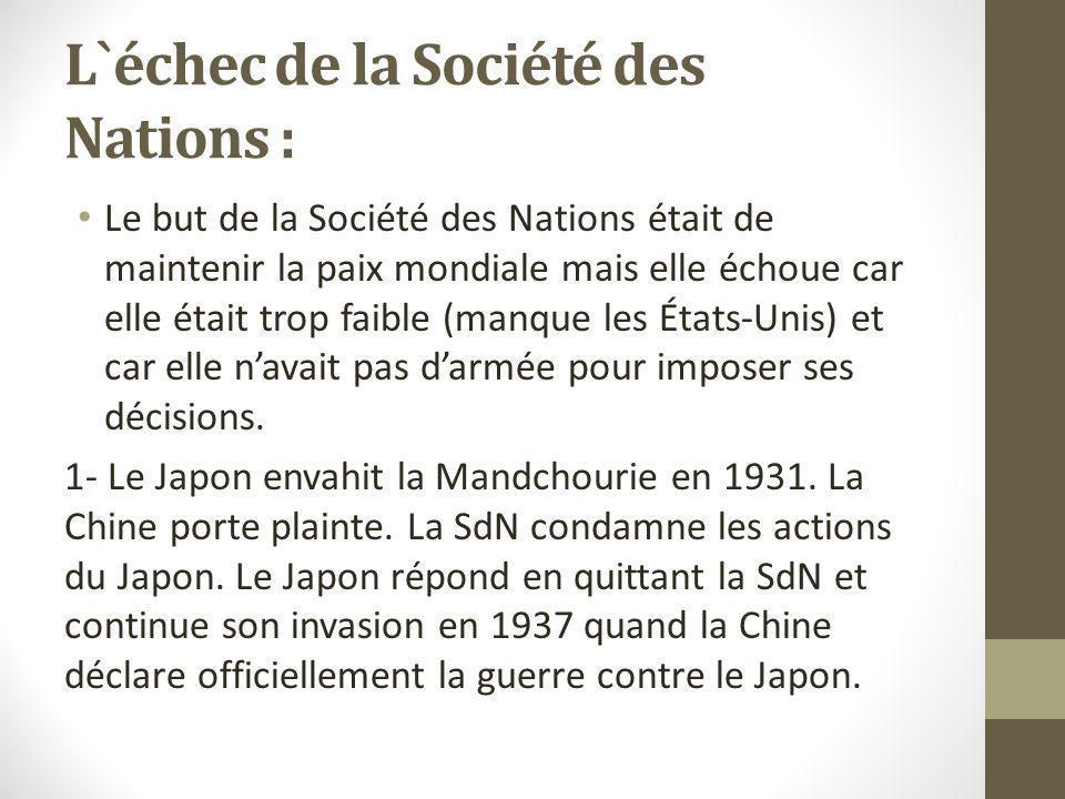 L`échec de la Société des Nations :