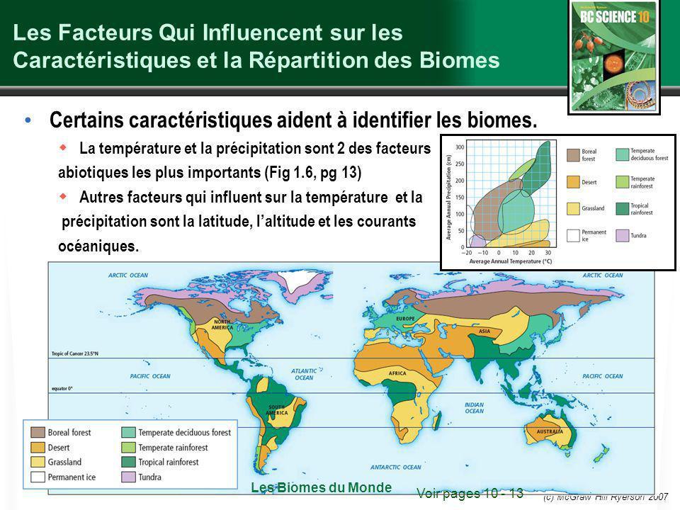 Certains caractéristiques aident à identifier les biomes.