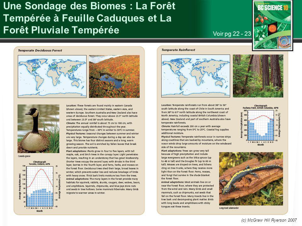 Une Sondage des Biomes : La Forêt Tempérée à Feuille Caduques et La Forêt Pluviale Tempérée