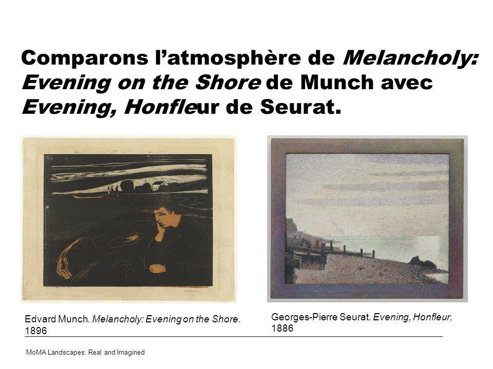 Comparons l'atmosphère de Melancholy: Evening on the Shore de Munch avec Evening, Honfleur de Seurat.