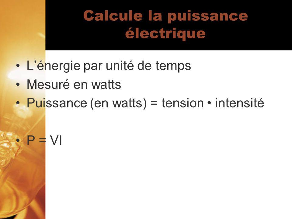 Calcule la puissance électrique