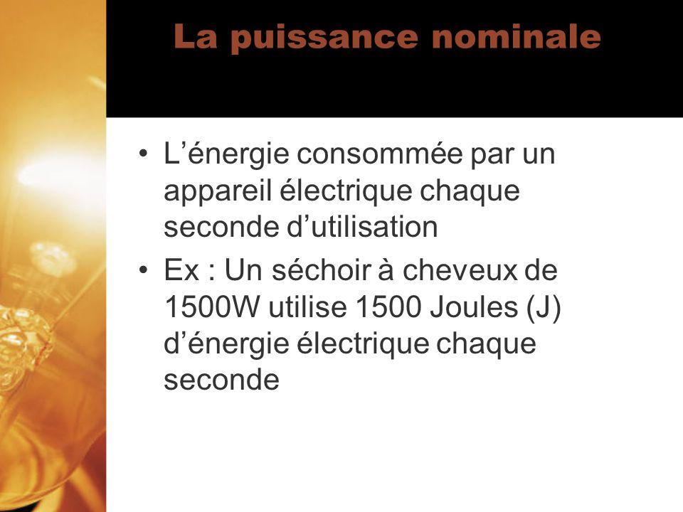 La puissance nominale L'énergie consommée par un appareil électrique chaque seconde d'utilisation.