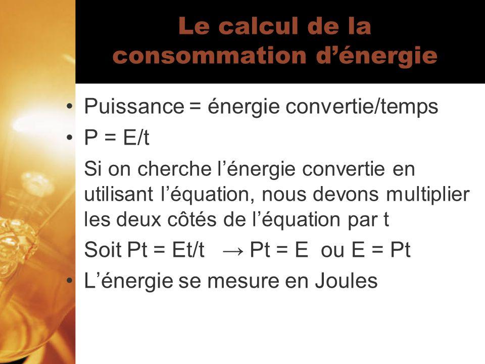 Le calcul de la consommation d'énergie