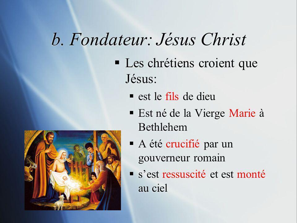 b. Fondateur: Jésus Christ