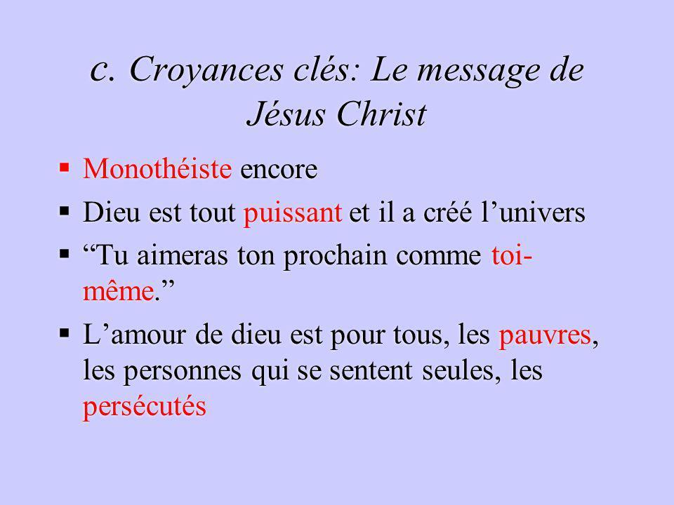 c. Croyances clés: Le message de Jésus Christ