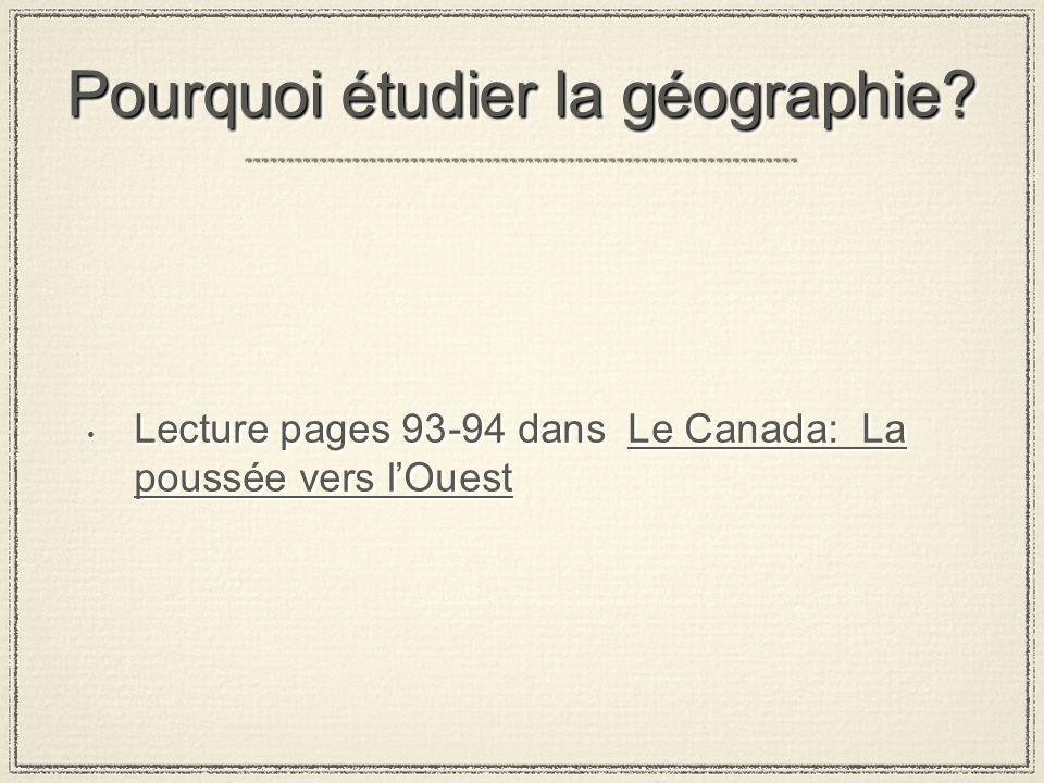 Pourquoi étudier la géographie