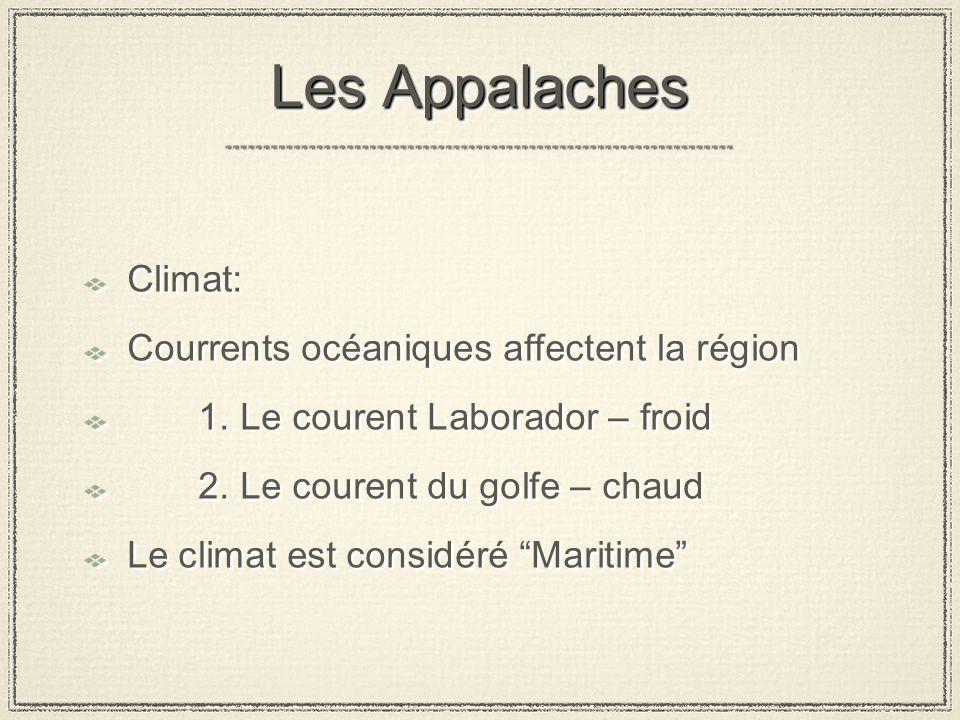 Les Appalaches Climat: Courrents océaniques affectent la région