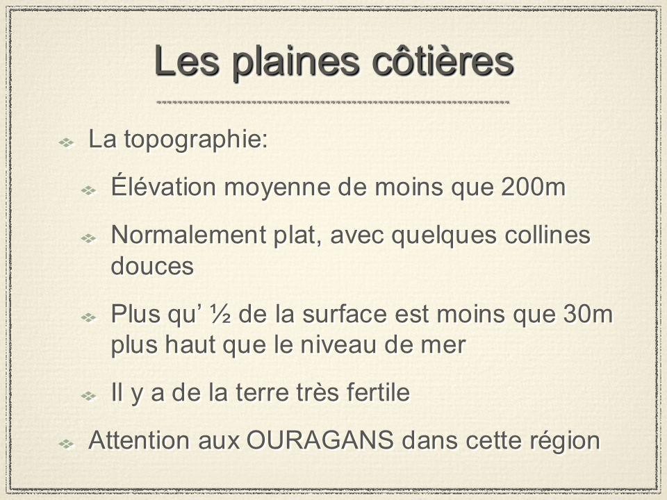 Les plaines côtières La topographie: