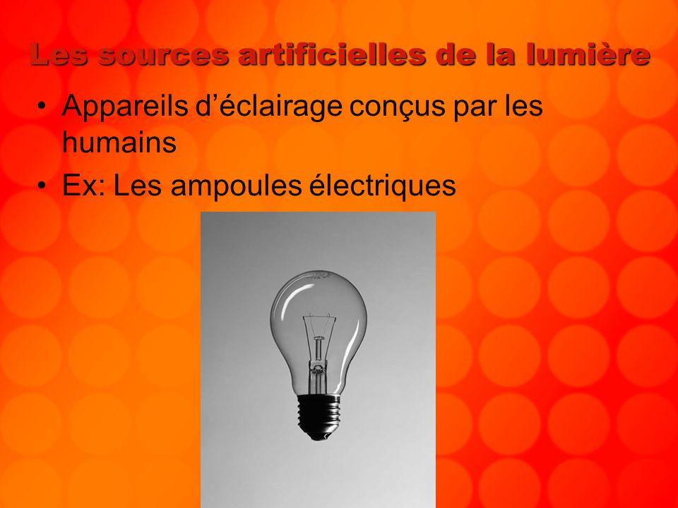 Les sources artificielles de la lumière