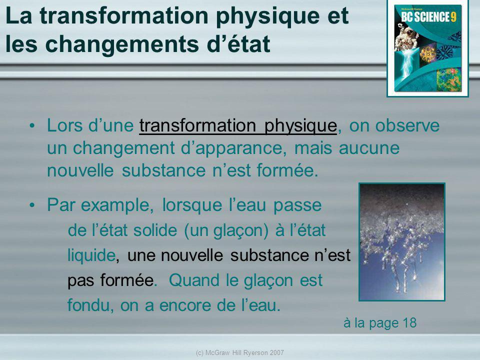La transformation physique et les changements d'état
