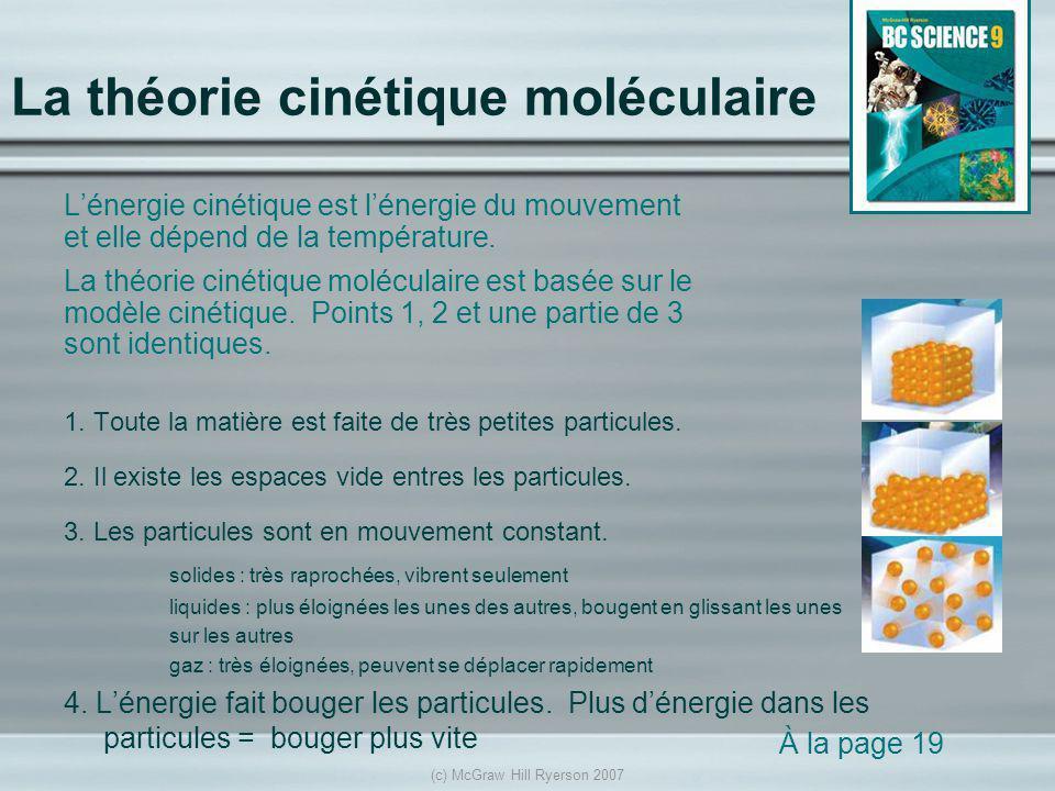 La théorie cinétique moléculaire
