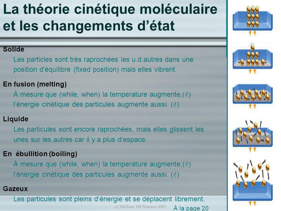 La théorie cinétique moléculaire et les changements d'état