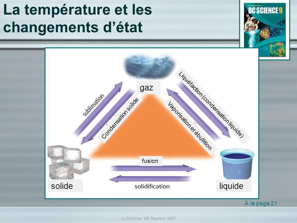 La température et les changements d'état
