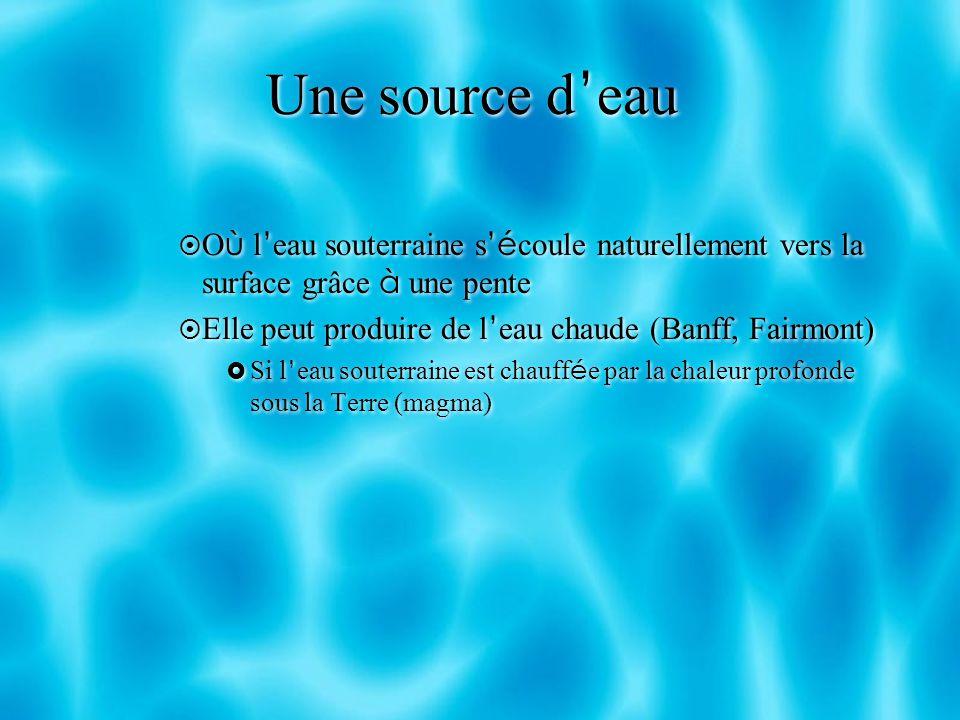 Une source d'eau Où l'eau souterraine s'écoule naturellement vers la surface grâce à une pente. Elle peut produire de l'eau chaude (Banff, Fairmont)