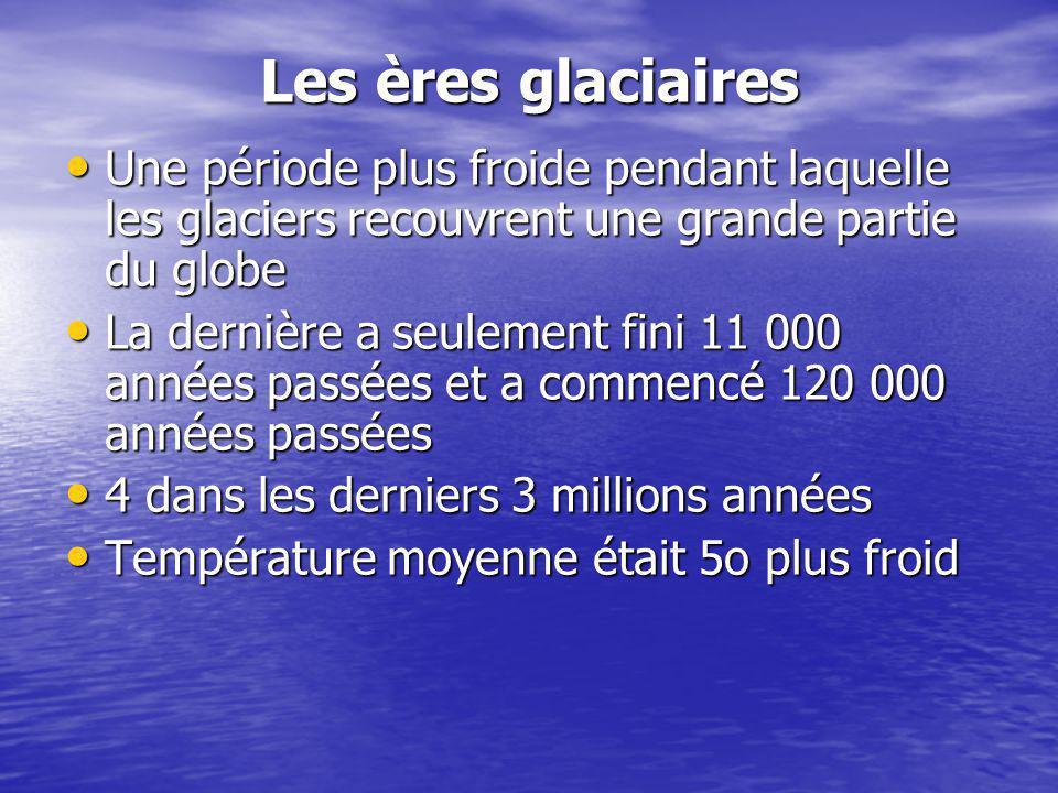 Les ères glaciaires Une période plus froide pendant laquelle les glaciers recouvrent une grande partie du globe.