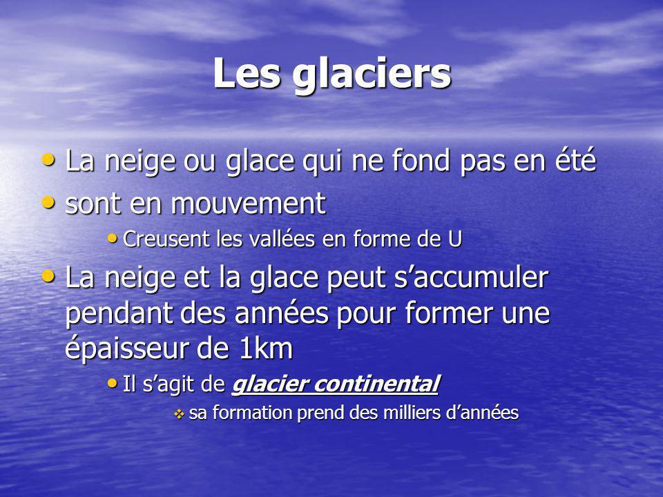 Les glaciers La neige ou glace qui ne fond pas en été