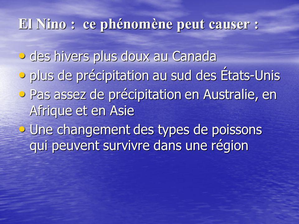 El Nino : ce phénomène peut causer :