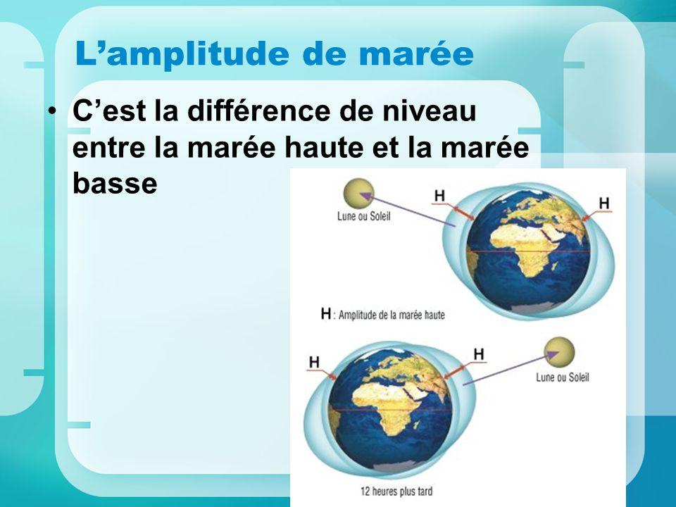 L'amplitude de marée C'est la différence de niveau entre la marée haute et la marée basse