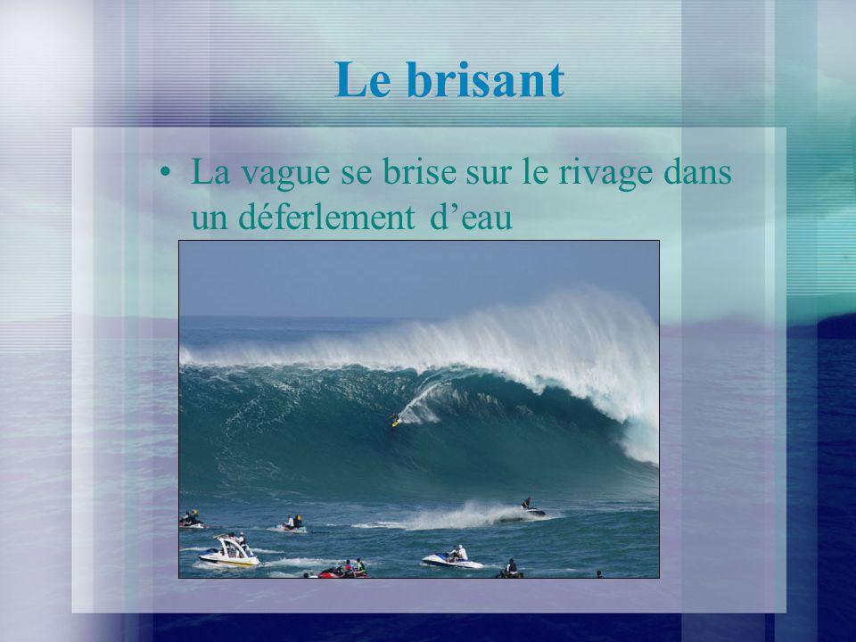 Le brisant La vague se brise sur le rivage dans un déferlement d'eau