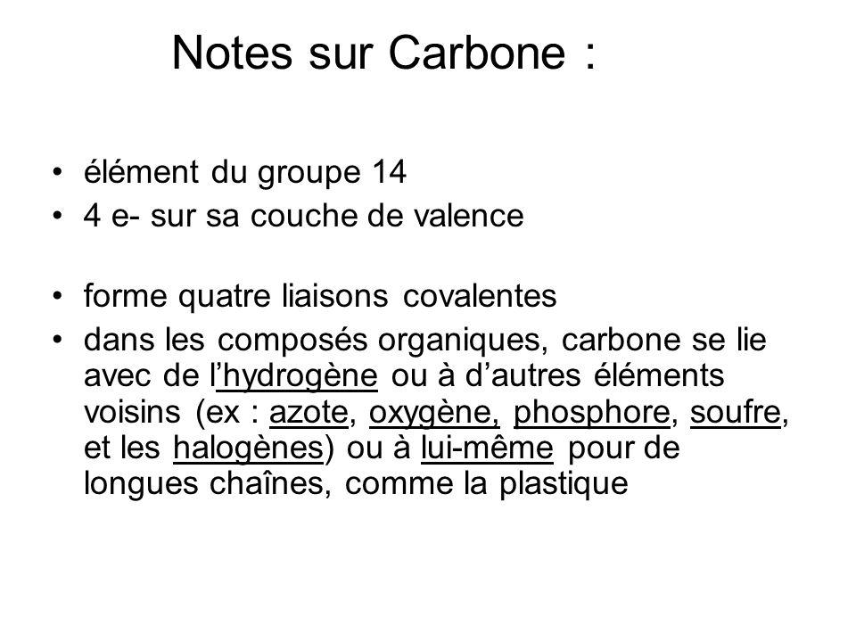 Notes sur Carbone : élément du groupe 14 4 e- sur sa couche de valence
