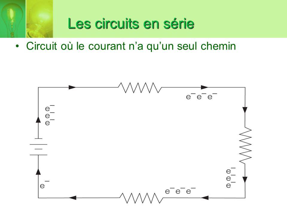 Les circuits en série Circuit où le courant n'a qu'un seul chemin