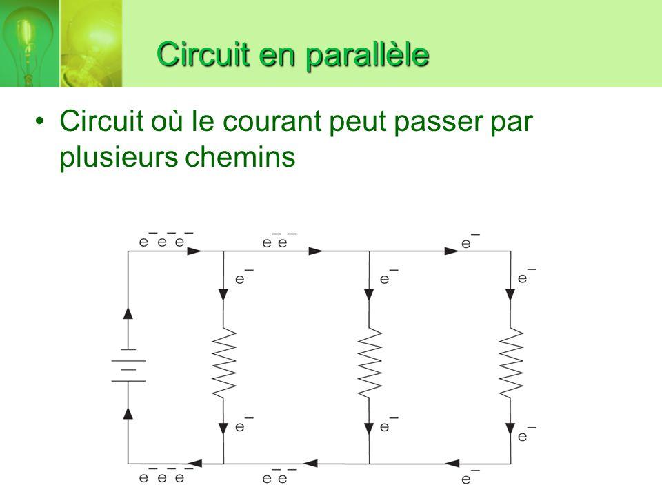 Circuit en parallèle Circuit où le courant peut passer par plusieurs chemins