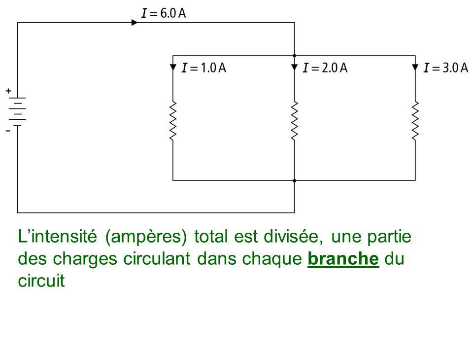 L'intensité (ampères) total est divisée, une partie des charges circulant dans chaque branche du circuit
