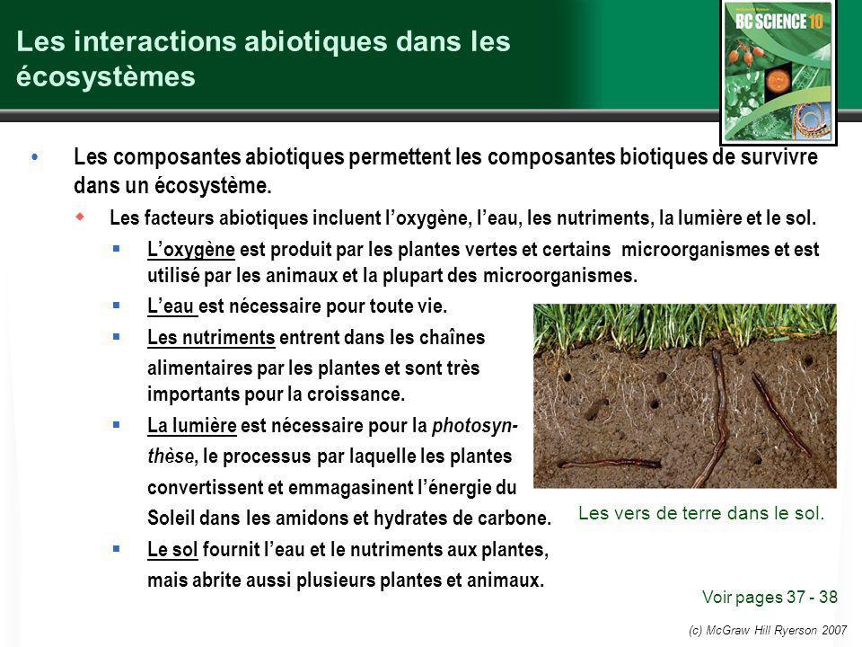 Les interactions abiotiques dans les écosystèmes