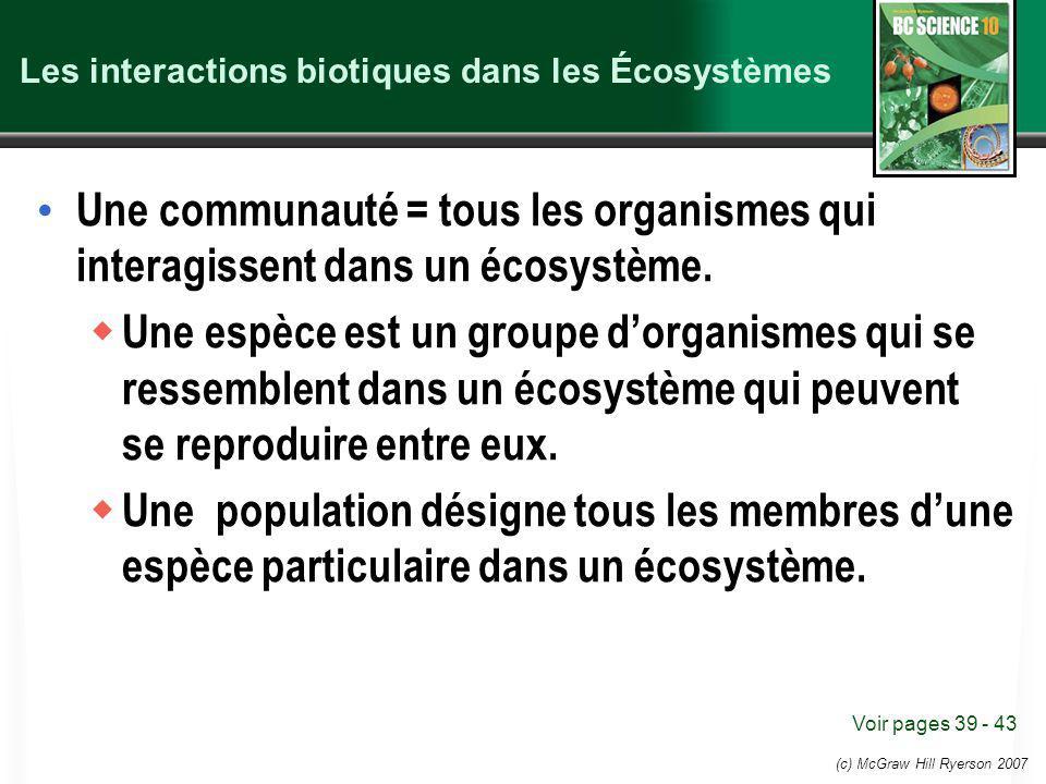 Les interactions biotiques dans les Écosystèmes