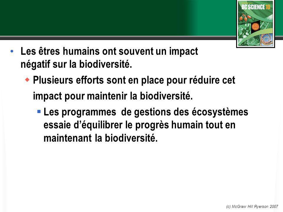 Les êtres humains ont souvent un impact négatif sur la biodiversité.