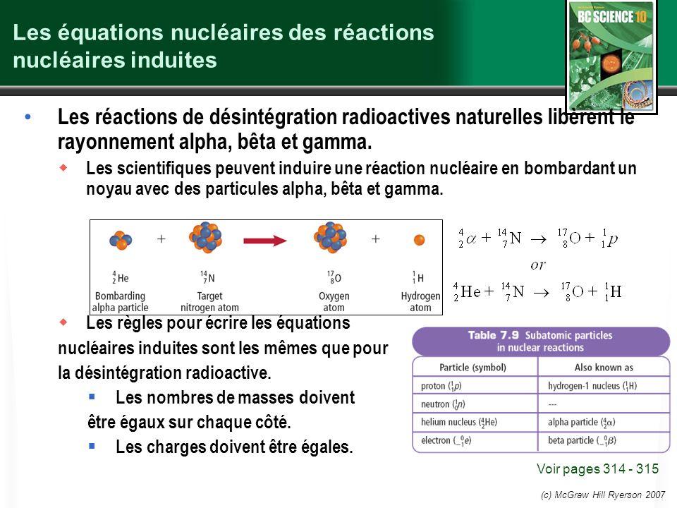 Les équations nucléaires des réactions nucléaires induites