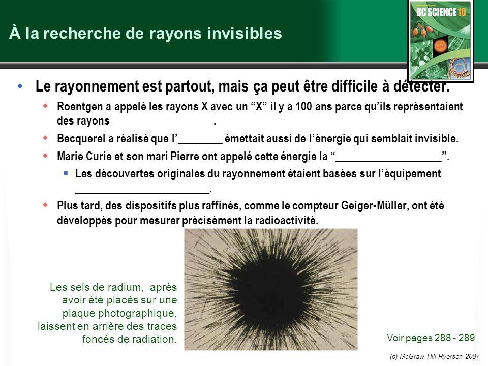 À la recherche de rayons invisibles