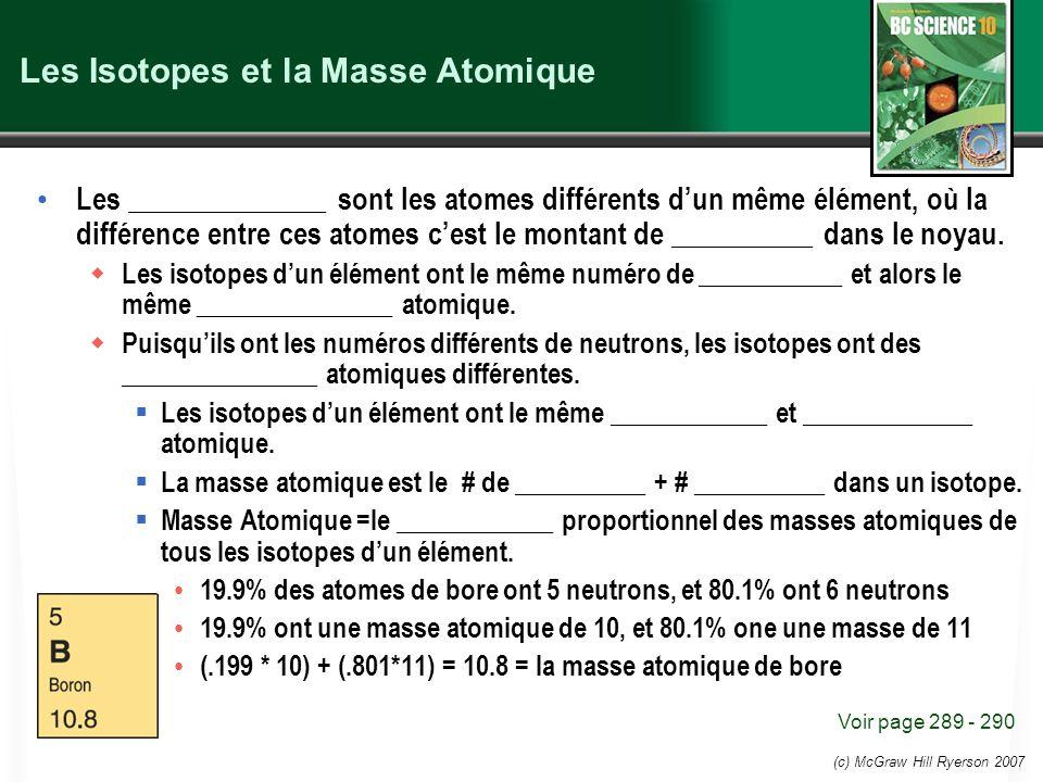 Les Isotopes et la Masse Atomique