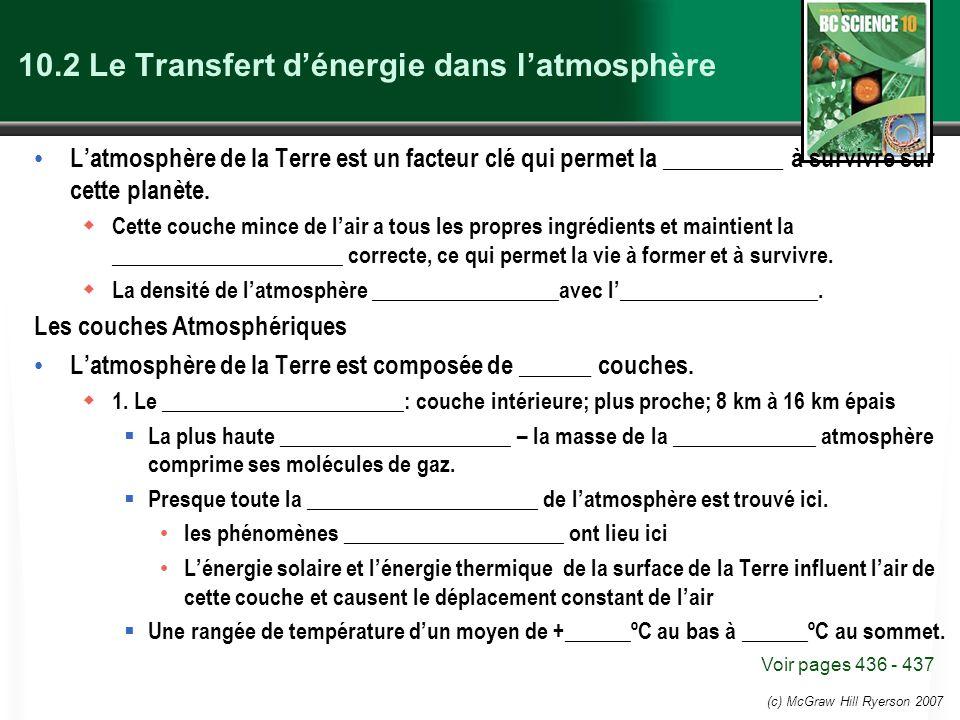 10.2 Le Transfert d'énergie dans l'atmosphère