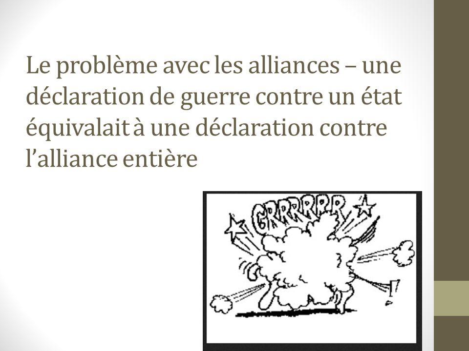 Le problème avec les alliances – une déclaration de guerre contre un état équivalait à une déclaration contre l'alliance entière