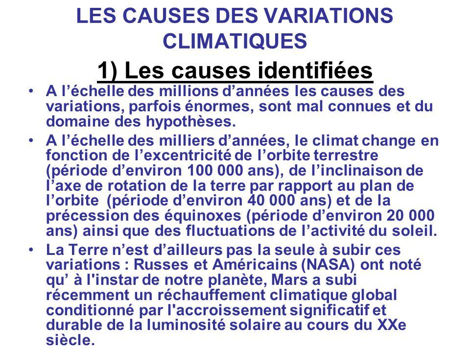 LES CAUSES DES VARIATIONS CLIMATIQUES 1) Les causes identifiées