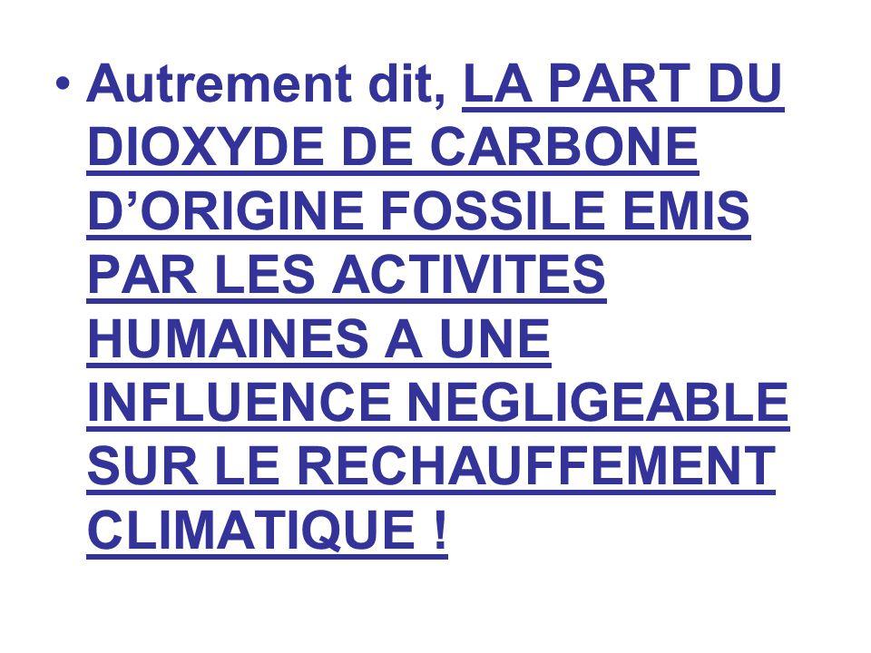 Autrement dit, LA PART DU DIOXYDE DE CARBONE D'ORIGINE FOSSILE EMIS PAR LES ACTIVITES HUMAINES A UNE INFLUENCE NEGLIGEABLE SUR LE RECHAUFFEMENT CLIMATIQUE !