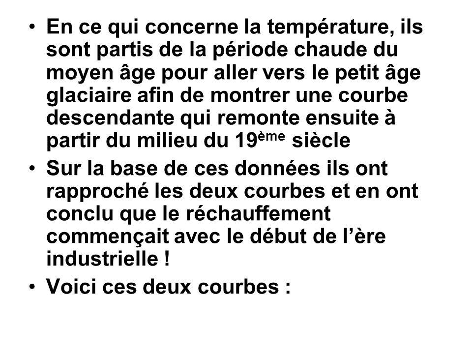 En ce qui concerne la température, ils sont partis de la période chaude du moyen âge pour aller vers le petit âge glaciaire afin de montrer une courbe descendante qui remonte ensuite à partir du milieu du 19ème siècle