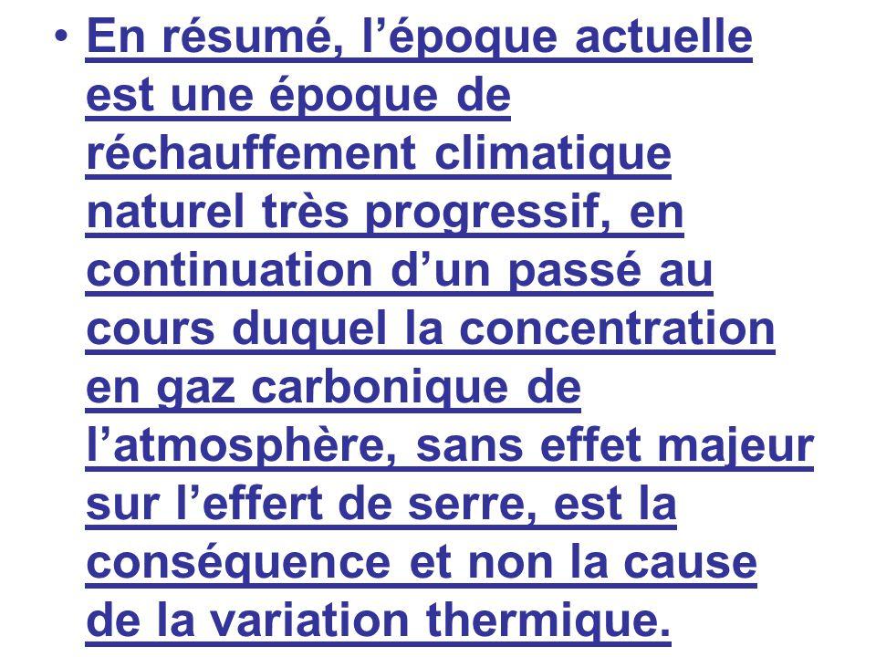 En résumé, l'époque actuelle est une époque de réchauffement climatique naturel très progressif, en continuation d'un passé au cours duquel la concentration en gaz carbonique de l'atmosphère, sans effet majeur sur l'effert de serre, est la conséquence et non la cause de la variation thermique.