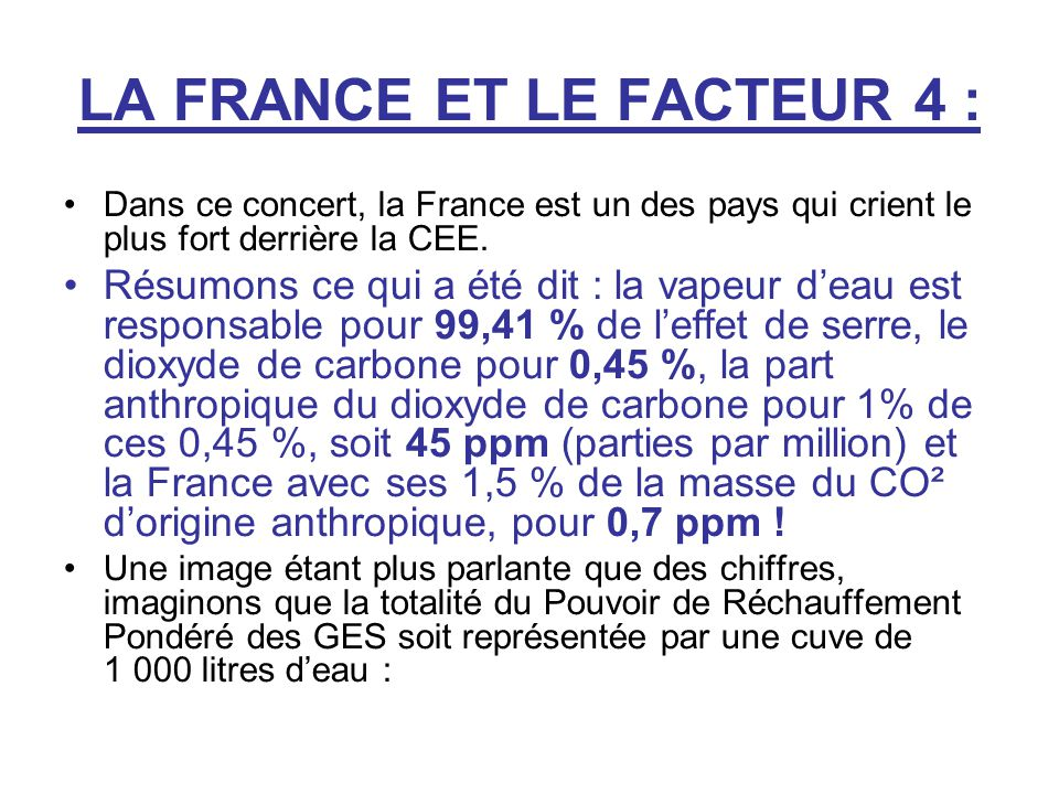 LA FRANCE ET LE FACTEUR 4 :