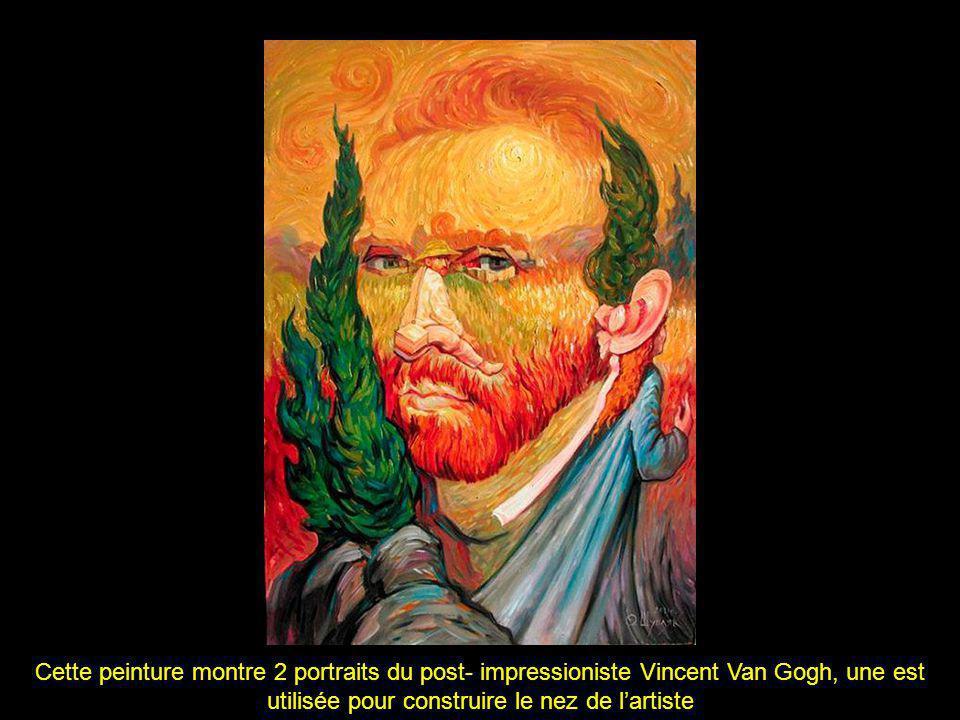 Cette peinture montre 2 portraits du post- impressioniste Vincent Van Gogh, une est utilisée pour construire le nez de l'artiste
