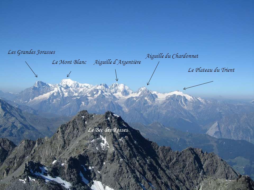 Les Grandes Jorasses Aiguille du Chardonnet. Le Mont Blanc. Aiguille d'Argentière. Le Plateau du Trient.
