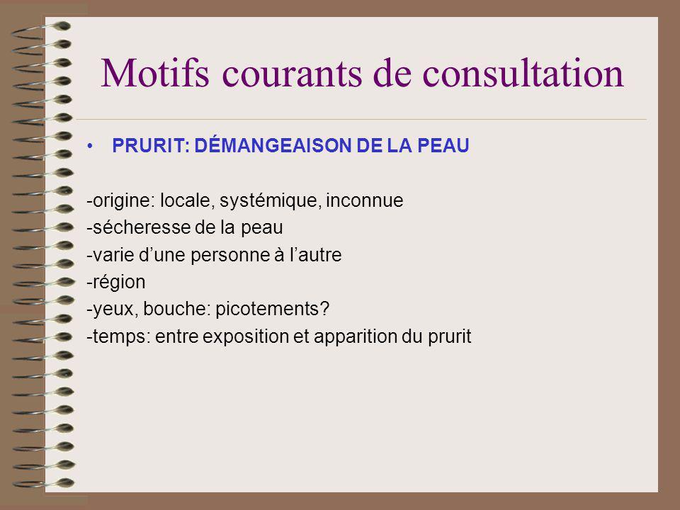 Motifs courants de consultation