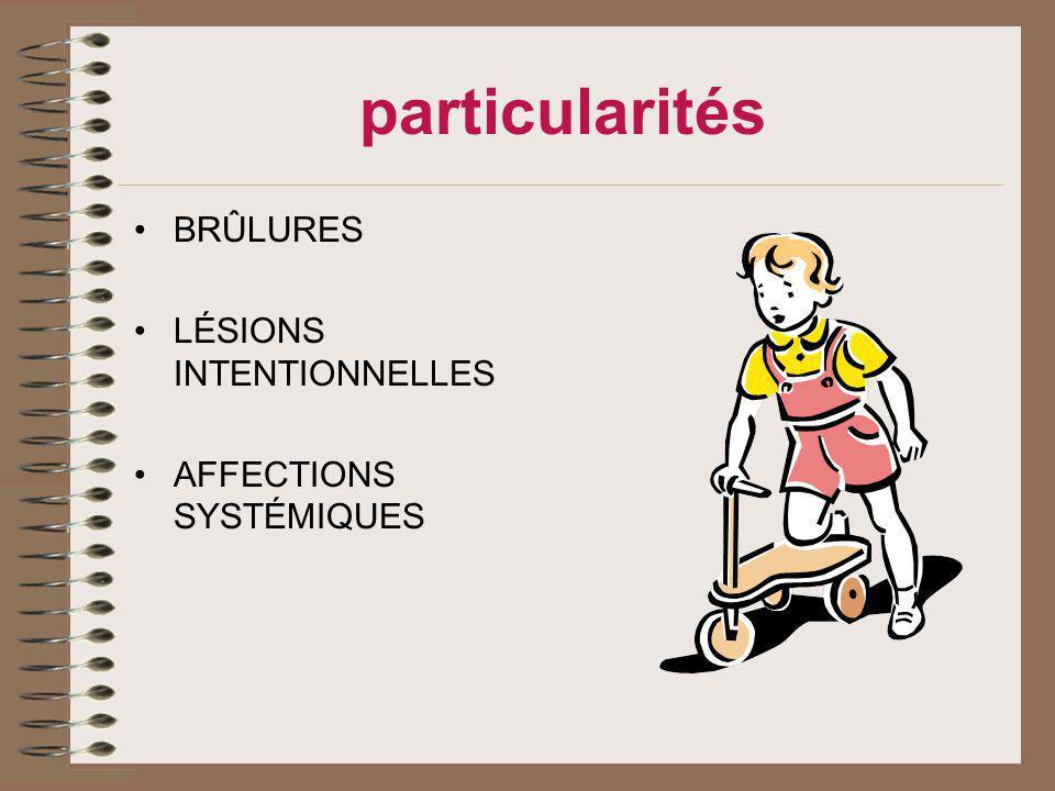 particularités BRÛLURES LÉSIONS INTENTIONNELLES AFFECTIONS SYSTÉMIQUES