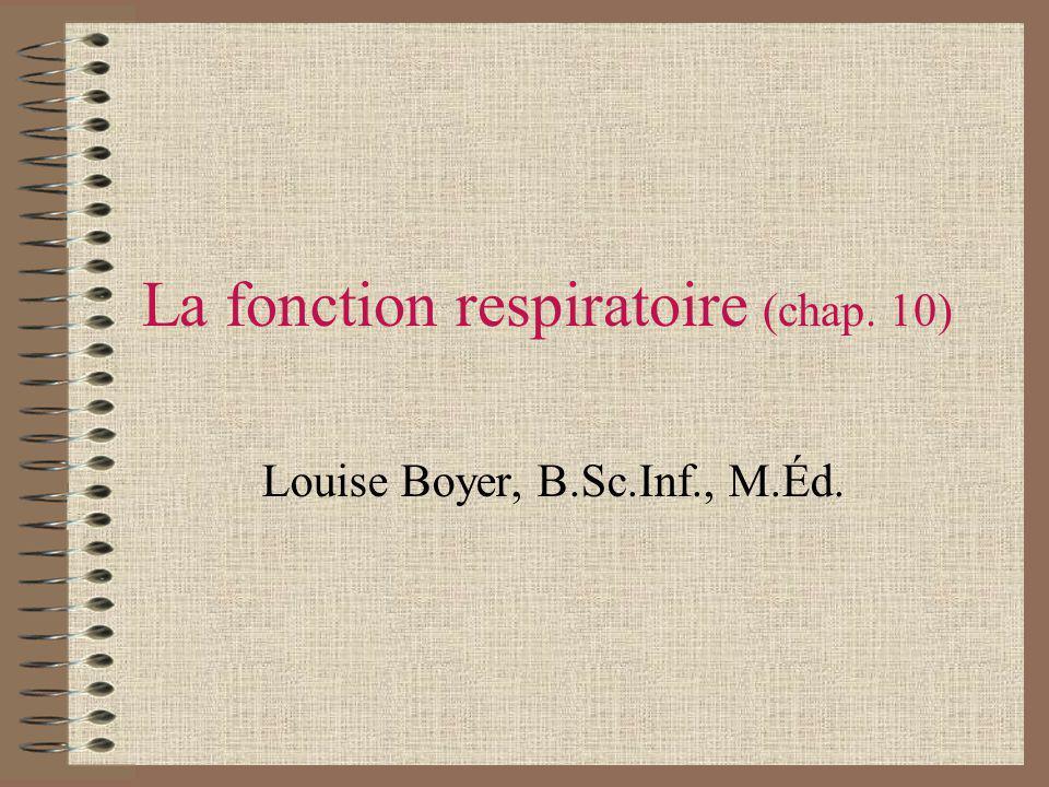 La fonction respiratoire (chap. 10)