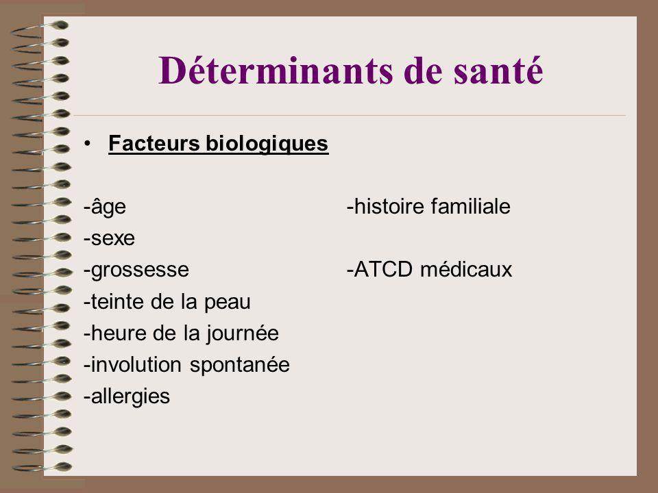 Déterminants de santé Facteurs biologiques -âge -histoire familiale