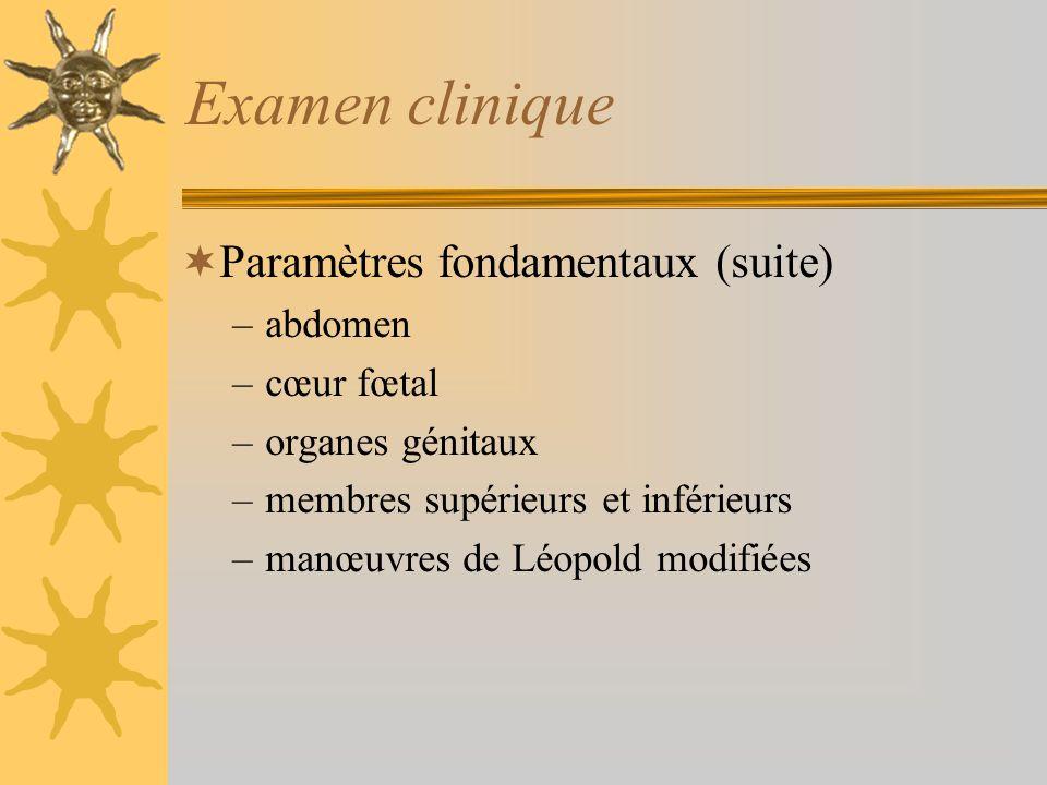 Examen clinique Paramètres fondamentaux (suite) abdomen cœur fœtal