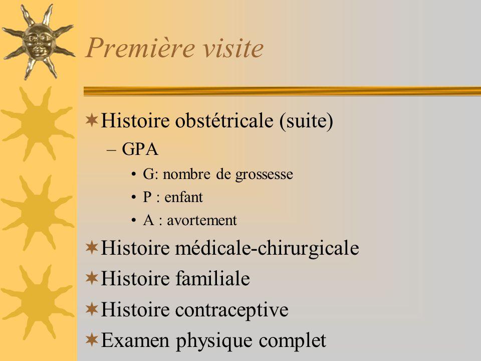 Première visite Histoire obstétricale (suite)
