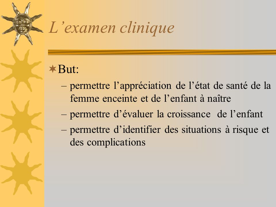 L'examen clinique But: