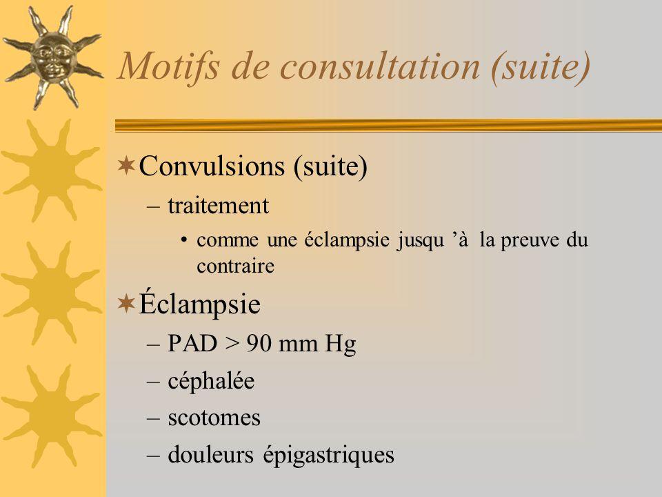 Motifs de consultation (suite)